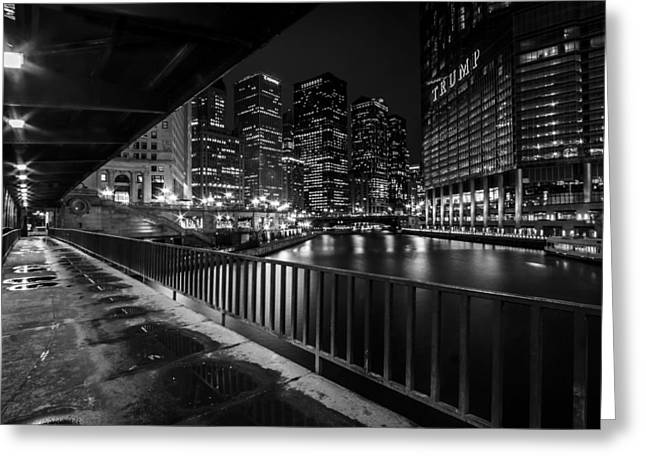 Chicago River View In Black And White  Greeting Card