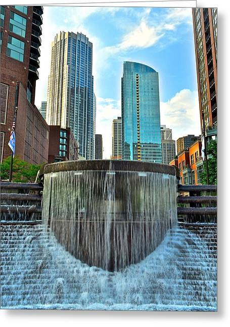 Chicago River Walk Fountain Greeting Card
