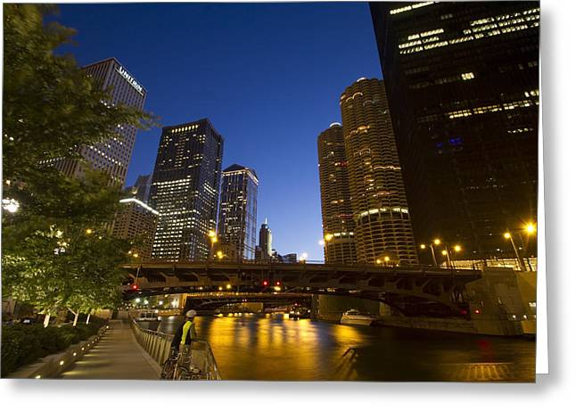 Chicago Riverwalk At Dusk Greeting Card