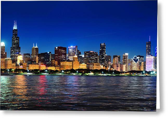 Chicago Shorline At Night Greeting Card
