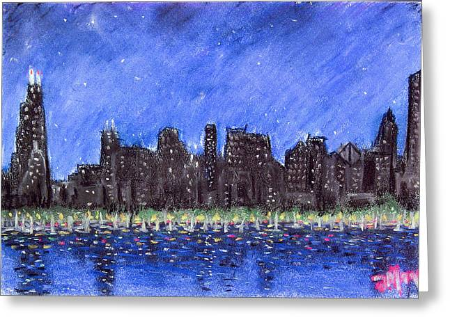 Chicago Skyline Pastels Greeting Cards - Chicago skyline 2 Greeting Card by Joe Michelli