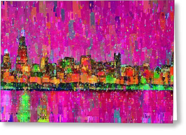 Chicago Skyline 202 - Da Greeting Card by Leonardo Digenio