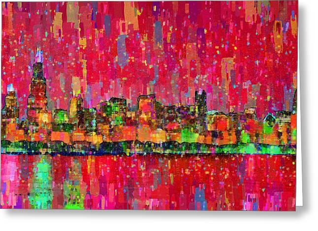 Chicago Skyline 203 - Da Greeting Card by Leonardo Digenio