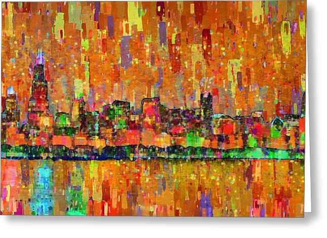 Chicago Skyline 204 - Pa Greeting Card by Leonardo Digenio