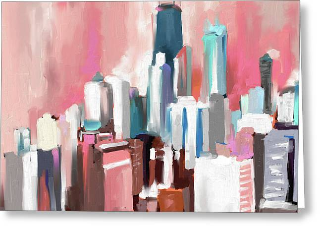 Chicago Skyline 649 2 Greeting Card by Mawra Tahreem