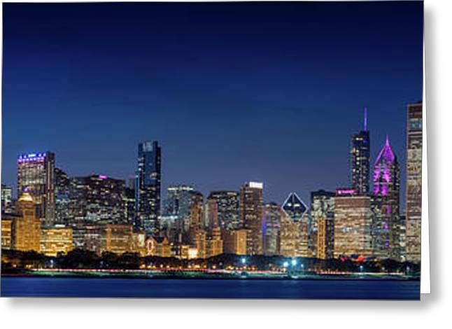 Greeting Card featuring the photograph Chicago Skyline After Sunset by Emmanuel Panagiotakis