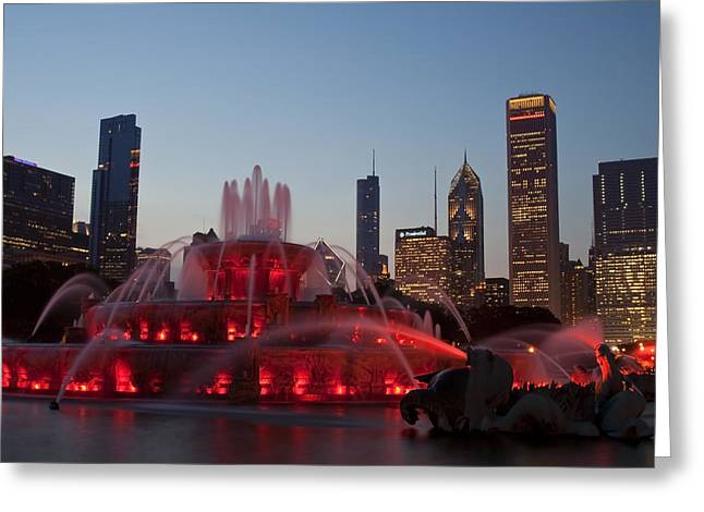 Chicago Skyline And Buckingham Fountain Greeting Card by Sven Brogren