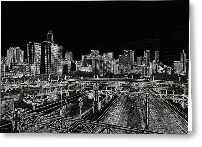 Chicago Skyline And Tracks Greeting Card