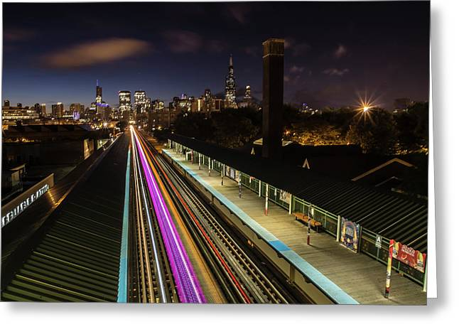 Chicago Skyline And Train Lights Greeting Card