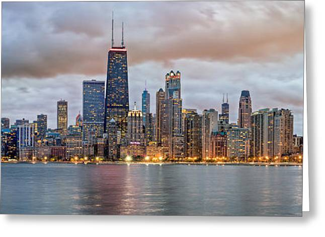 Chicago Skyline At Dusk Greeting Card by James Udall