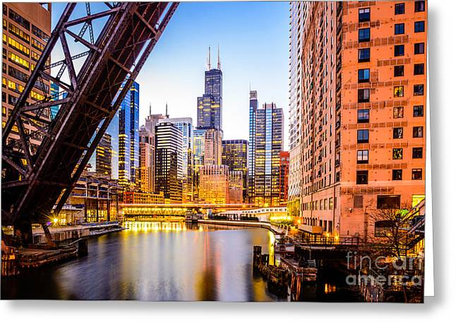 Chicago Skyline At Night And Kinzie Bridge Greeting Card
