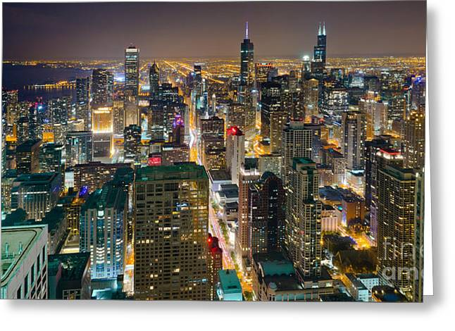 Chicago Skyline At Night Greeting Card by David Harpe