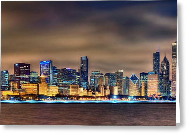 Night Scenes Greeting Cards - Chicago Skyline at NIGHT Panorama Greeting Card by Jon Holiday