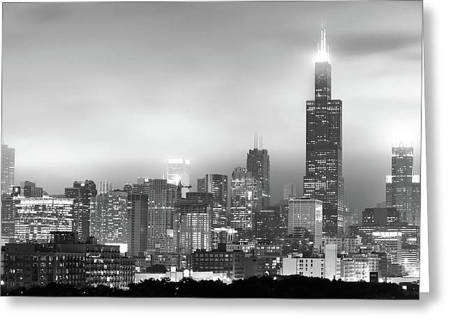 Chicago Skyline Black And White - Illinois - Usa Greeting Card by Gregory Ballos