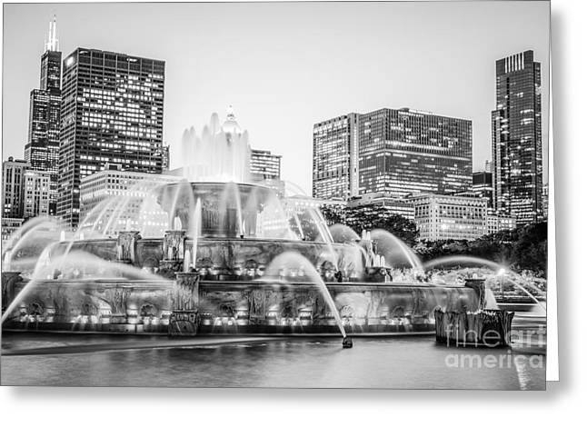 Chicago Skyline Black And White Photography Greeting Card