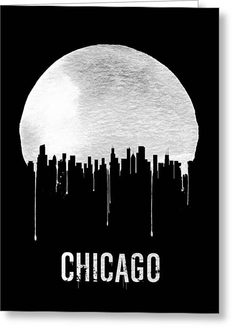 Chicago Skyline Black Greeting Card by Naxart Studio