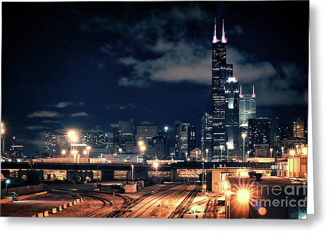 Chicago Skyline Cityscape At Night Greeting Card