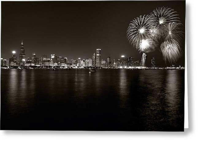 Chicago Skyline Fireworks Bw Greeting Card by Steve Gadomski