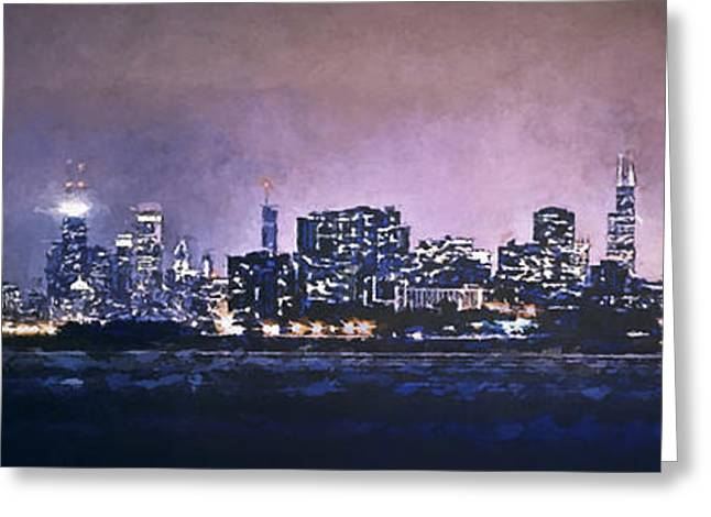 Topaz Greeting Cards - Chicago Skyline from Evanston Greeting Card by Scott Norris