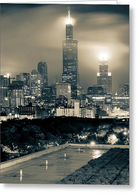 Chicago Skyline From The Rooftop - Sepia Greeting Card by Gregory Ballos