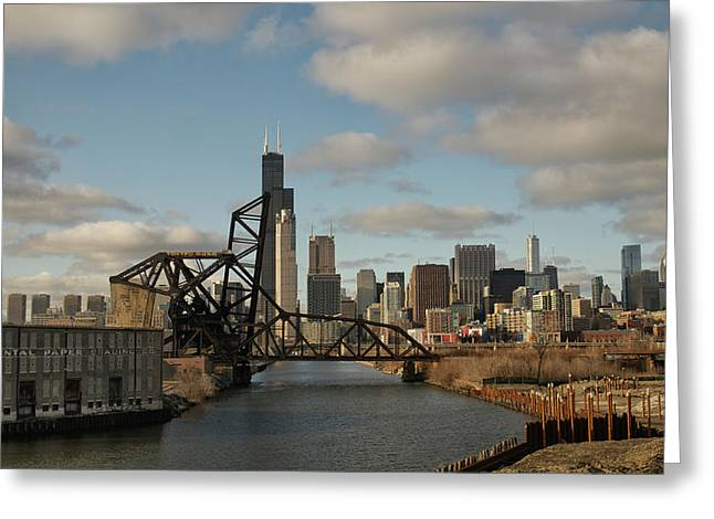 Chicago Skyline From The South Branch Greeting Card by Sheryl Thomas