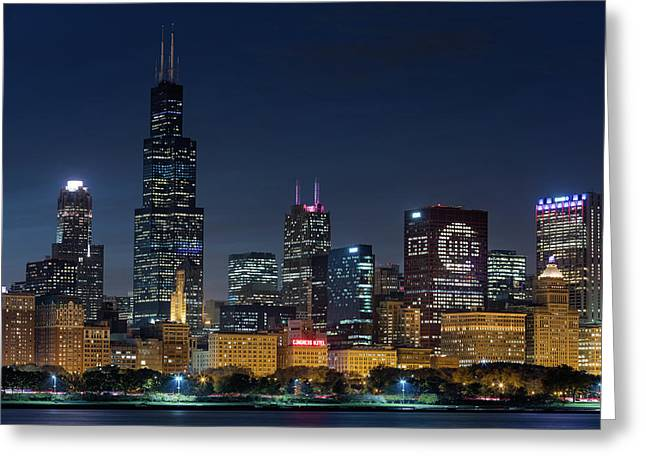 Greeting Card featuring the photograph Chicago Skyline Go Gubs  by Emmanuel Panagiotakis