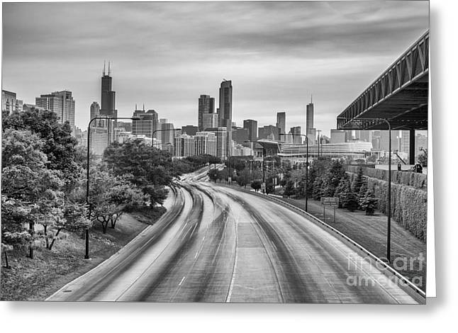 Chicago Skyline In Black And White From The Mccormick Place Pedestrian Bridge Over Lake Shore Drive  Greeting Card by Silvio Ligutti