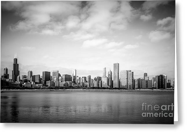 Chicago Skyline Lakefront Black And White Photo Greeting Card by Paul Velgos