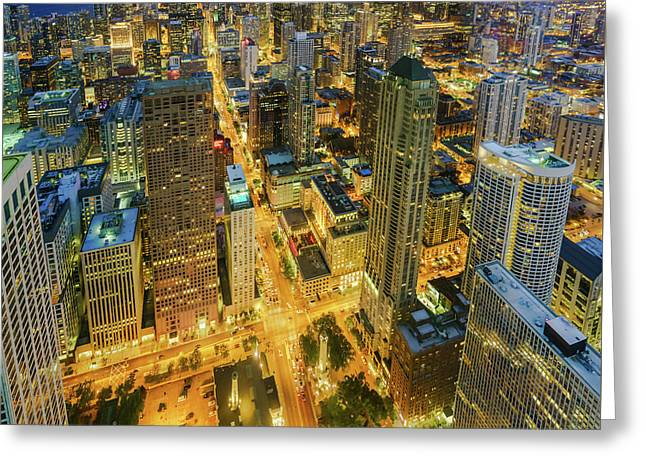 Chicago Skyline Magnificent Mile At Night Greeting Card