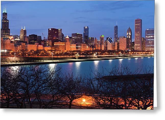 Chicago Skyline March 2011 Greeting Card by Donald Schwartz