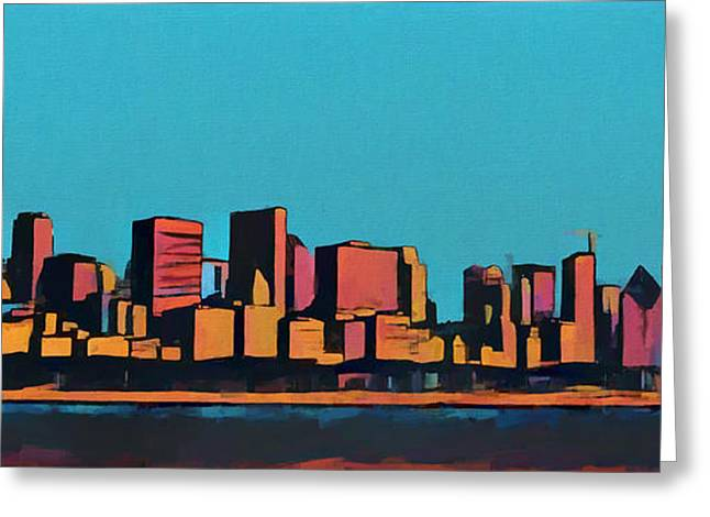 Chicago Skyline Pop Art Panorama Greeting Card by Dan Sproul