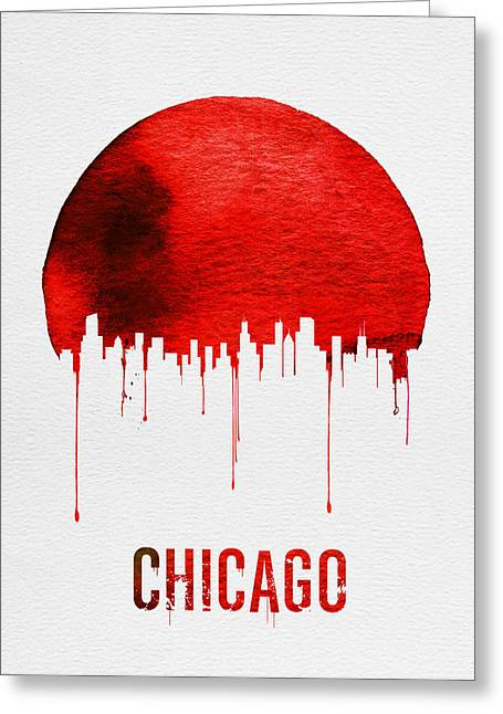 Chicago Skyline Red Greeting Card