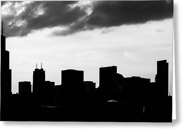 Chicago Skyline Silhouette Panorama Photo Greeting Card