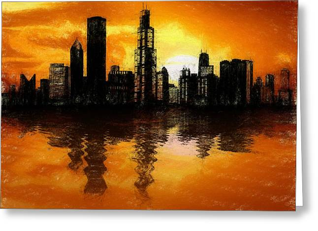 Chicago Skyline Sunset Reflection Greeting Card by Dan Sproul