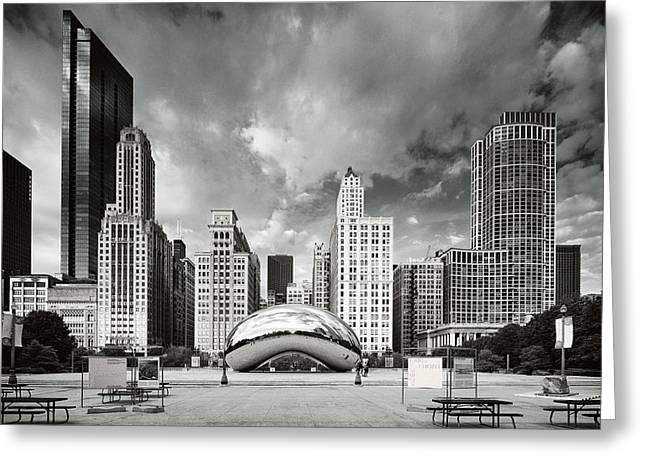 Chicago Skyline The Bean  Greeting Card