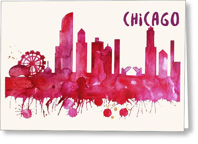 Chicago Skyline Watercolor Poster - Cityscape Painting Artwork Greeting Card