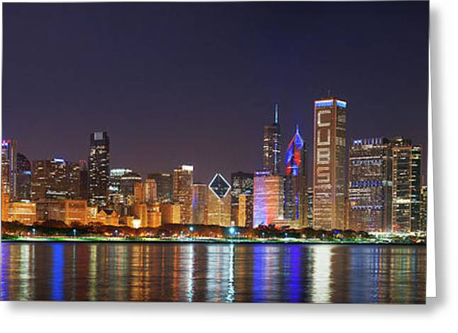 Chicago Skyline With Cubs World Series Lights Night, Moonrise, Chicago, Cook County, Illinois, Usa Greeting Card
