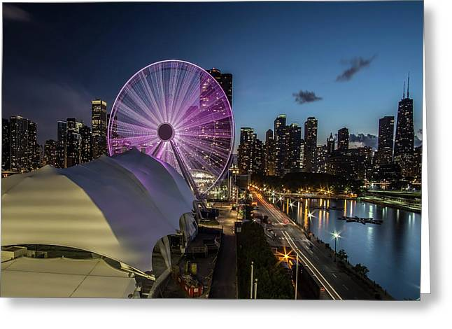 Chicago Skyline With New Ferris Wheel At Dusk Greeting Card
