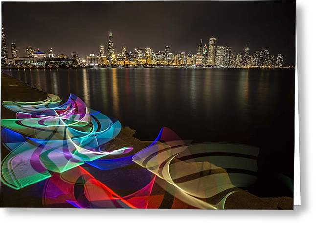 Chicago Skyline With Pixel Stick Painting Greeting Card