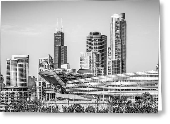 Chicago Skyline With Soldier Field And Willis Tower  Greeting Card