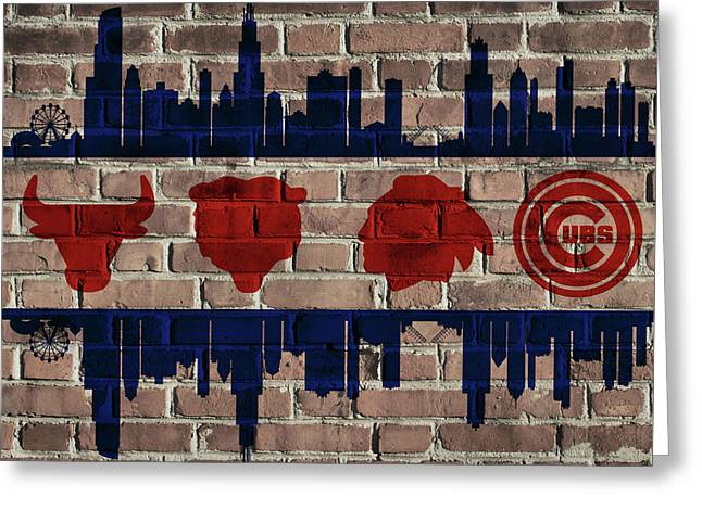 Chicago Sports Team Flag On Brick Greeting Card by Dan Sproul