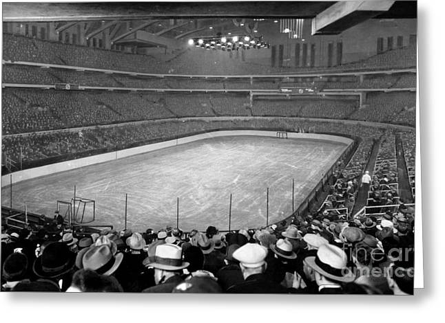 Chicago Stadium Prepared For A Chicago Blackhawks Game Greeting Card by Celestial Images