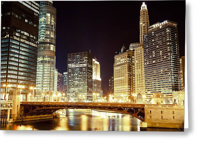 Riverfront Greeting Cards - Chicago State Street Bridge at Night Greeting Card by Paul Velgos
