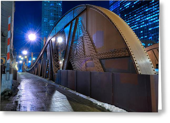 Chicago Steel Bridge Greeting Card by Steve Gadomski