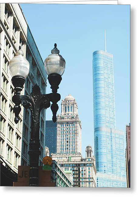 Chicago Street Lamp Greeting Card