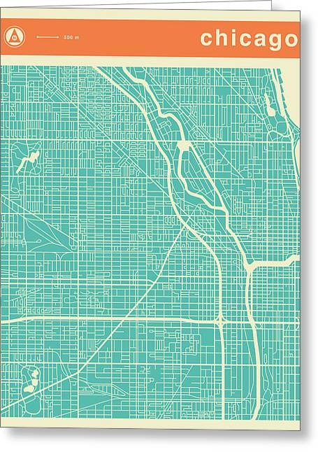 Chicago Street Map Greeting Card by Jazzberry Blue