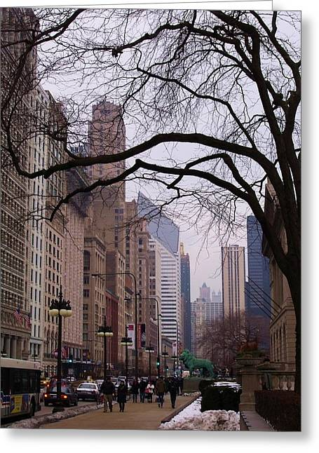 Chicago Street Scene Greeting Card