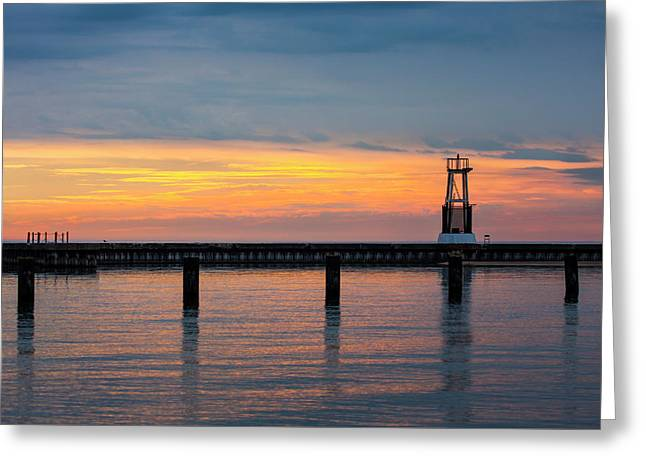 Greeting Card featuring the photograph Chicago Sunrise At North Ave. Beach by Adam Romanowicz