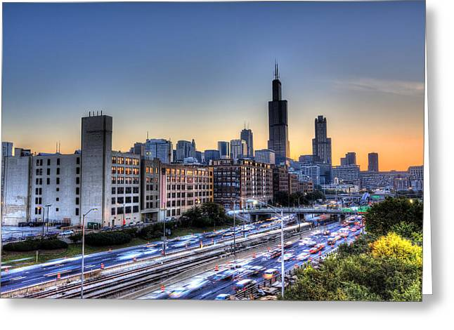 Greeting Card featuring the photograph Chicago Sunrise Rush Hour by Shawn Everhart