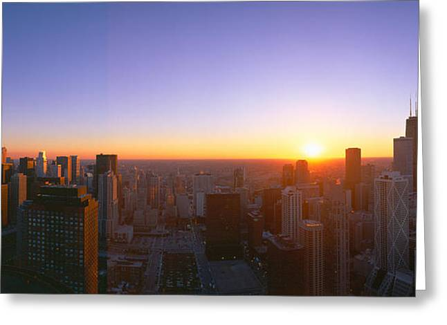 Chicago Sunset, Aerial View, Illinois Greeting Card by Panoramic Images